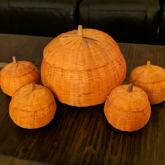 Wicker orange pumpkins